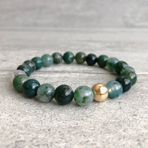 gold bead moss agate bracelet for women or men