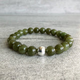 Jade bracelet with silver accent bead