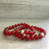 red orange bead bracelets