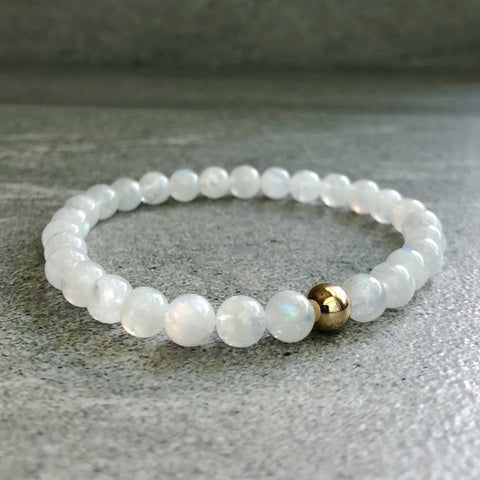 White Moonstone Bracelet | Natural Crystal Jewelry | Beaded Stretch Bracelet
