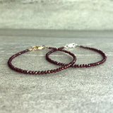 Rhodolite Garnet Bracelet | Gold or Sterling Silver Clasp | Red Natural Crystal Jewelry