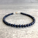 Genuine Blue Sapphire Bracelet | Faceted Sapphire Precious Stone Jewelry | September Birthstone