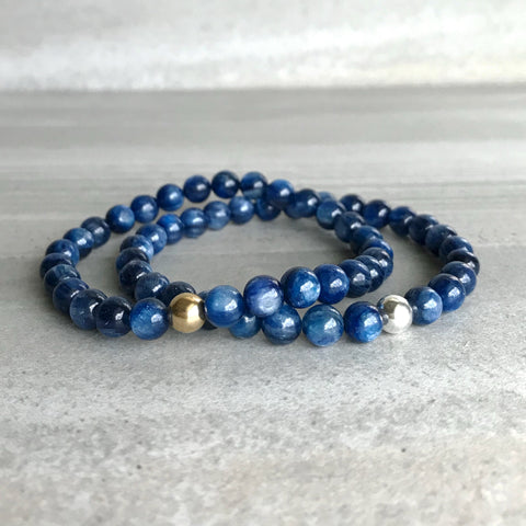 Kyanite Bracelet / Genuine Blue Kyanite Jewelry / Silver or Gold Bead Bracelet for Women, Men