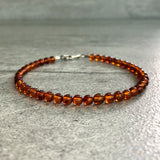 Baltic Amber Bracelet | Women's, Men's Sterling Silver Jewelry | Genuine Amber Bead Bracelet