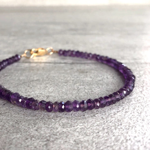 Amethyst Beaded Bracelet | February Birthstone Gift for Women, Men | Gold or Silver Clasp