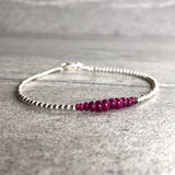 Genuine Ruby Bracelet | Gold or Silver Beads | Real Ruby Jewelry | July Birthstone Gift