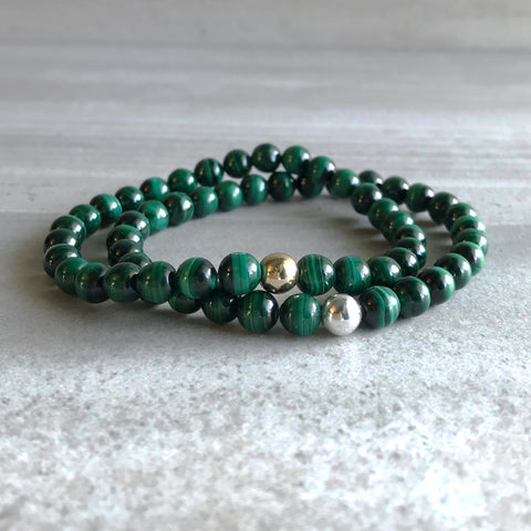 Genuine Malachite Bracelet | Natural Crystal Jewelry | Gold or Silver Bead