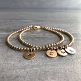 layered gold initial bracelets 14K gold filled