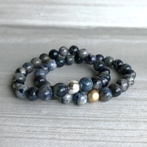 Dumortierite Bracelet | Blue Stretch Bracelet | Gold or Silver Bead Jewelry