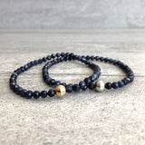 Genuine sapphire stretch bracelets with silver and gold beads