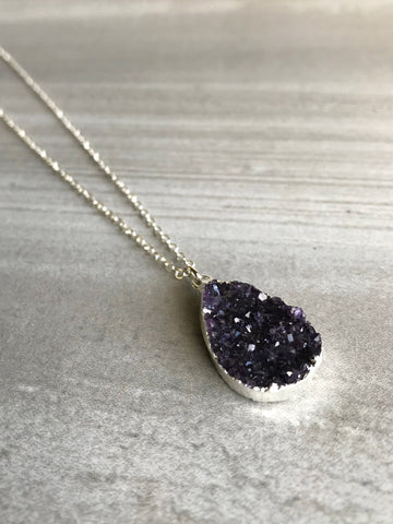 Rough Amethyst Necklace | Purple Druzy Pendant | Custom Length Sterling Silver Chain