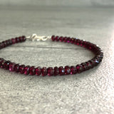 Faceted Garnet Bracelet | Gold or Silver Clasp | Minimalist Red Gemstone Jewelry