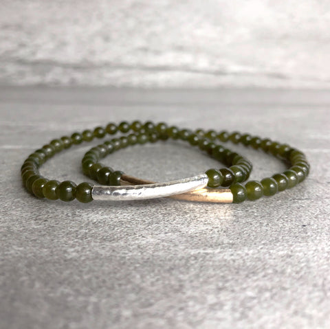 Real Jade Bracelet | Genuine Nephrite Jade Jewelry | Gold or Silver Bead Stretch Bracelet