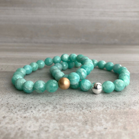 Amazonite Bracelet | Women's, Men's Natural Crystal Stretch Bracelet | Gold or Silver Bead Jewelry