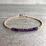 Purple Amethyst Bracelet | Delicate Bracelet with Tiny Gold or Silver BeadS | Genuine Amethyst Birthstones