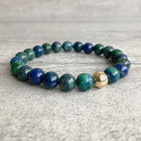 genuine chrysocolla bracelet with gold bead