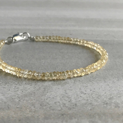 Genuine Citrine Bracelet for Women, Men / Silver or Gold Clasp Custom Jewelry / November Birthstone Gift