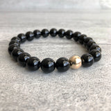Black Onyx Bracelet | 14 K Gold Bead Jewelry | Smooth or Faceted Bead Stretch Bracelet