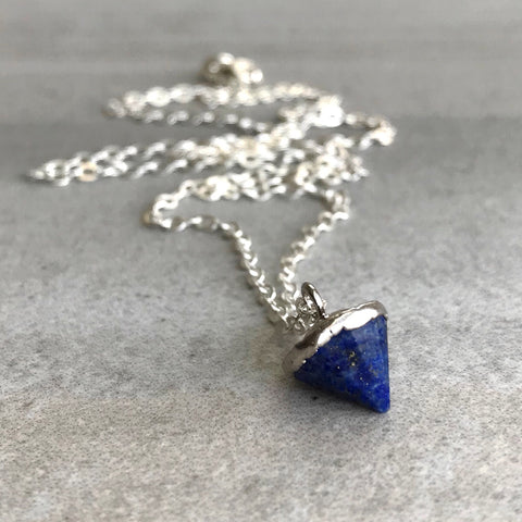 Lapis Lazuli Pendant Necklace | Blue Natural Crystal Cone | Custom Length Sterling Silver Chain