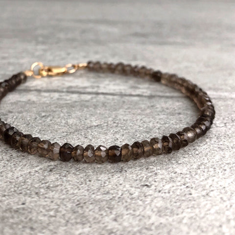 Smoky Quartz Bracelet | Custom 6 7 8 9 inch Bracelet | Brown Crystal Quartz Jewelry