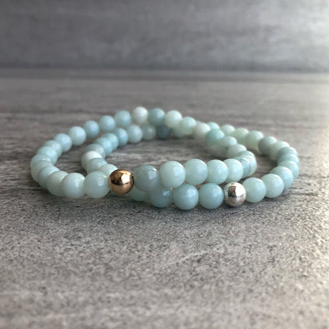 Mint Amazonite Bracelet | Women's, Men's Natural Stone Stretch Bracelet | Gold or Silver Bead Jewelry