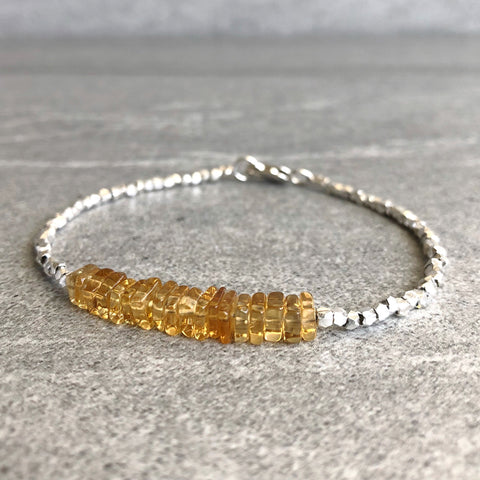 Genuine Citrine Bracelet | Yellow Gemstone Jewelry | Tiny Square Bead Bracelet