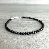 small bead black spinel bracelet with silver clasp