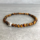 Tiger's eye beaded bracelet with silver accent