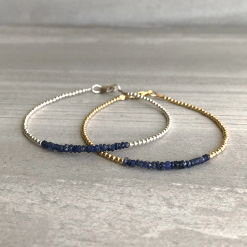 Sapphire bracelets with gold or silver accents