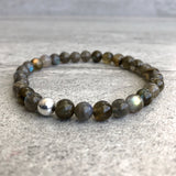 Labradorite bracelet with silver accent