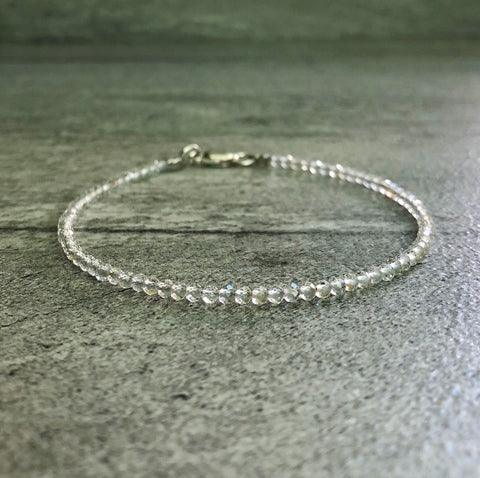 white topaz bracelet with tiny beads