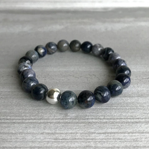 Smoky blue beaded bracelet