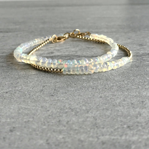 Ethiopian Opal Bracelet / October Birthstone Jewelry / Genuine Opal Crystal Bracelet
