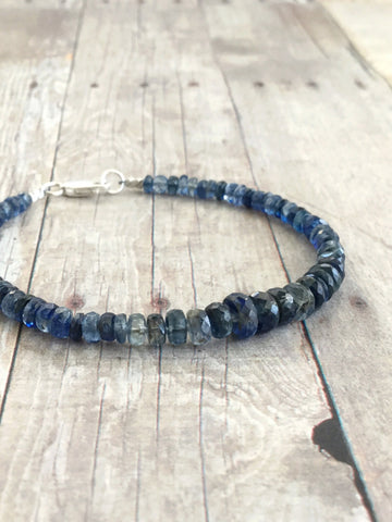 Blue Kyanite Bracelet / Graduated Gemstone Bracelet / Sterling Silver Clasp