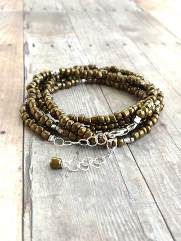 Long gold seed bead wrap around bracelet