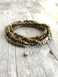 Long Gold Necklace or Multi Wrap Bracelet / Custom Length Tiny Bead Necklace