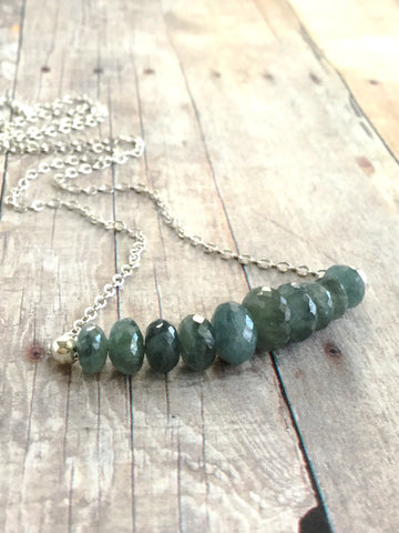 Teal Moss Aquamarine Necklace / Faceted Gemstone Bar / Sterling Silver Chain