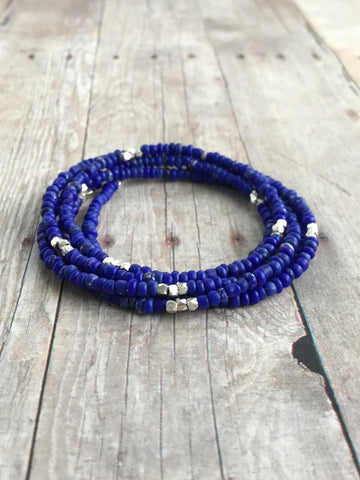 Long Tiny Beaded Necklace or Multi Strand Bracelet / Royal Blue Seed Bead Jewelry