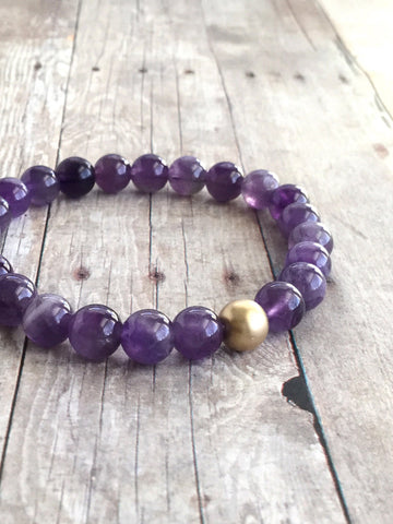 Genuine Amethyst Bracelet / 14 K Gold Filled Jewelry / Natural Stone Bracelet