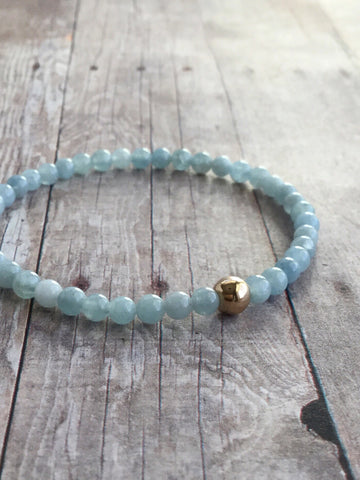 Aquamarine Bracelet / March Birthstone Jewelry / Silver or Gold Bead Bracelet