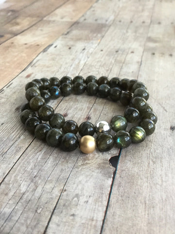 Labradorite Stretch Bracelet / Natural Stone Jewelry / Sterling Silver or Gold Bead Bracelet