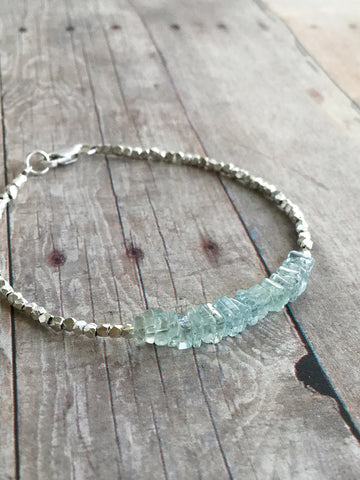 Aquamarine and silver bracelet