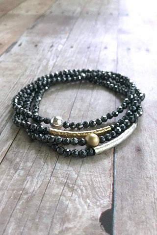 Hematite stackable bracelets