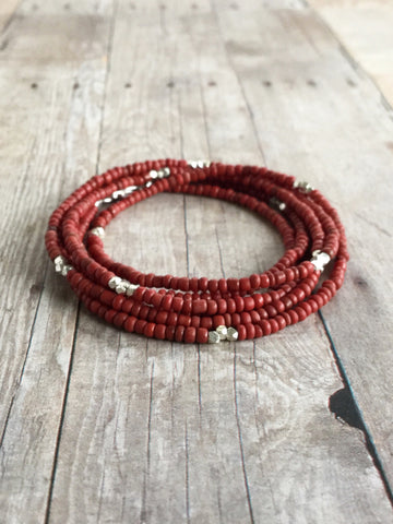 Long Red Necklace or Multi Wrap Bracelet / Tiny Seed Bead Jewelry / Hill Tribe Silver Beads