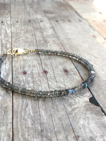 Labradorite Beaded Bracelet / Sterling Silver or Gold Clasp / Women's or Men's Jewelry
