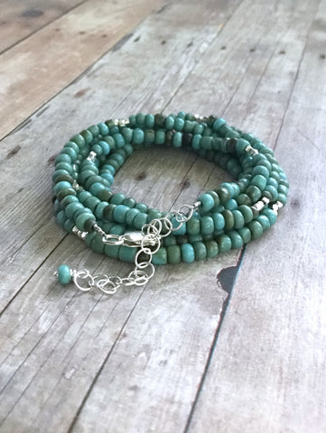 Long Turquoise Necklace or Wrap bracelet, Indonesian seed bead Jewelry