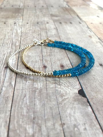 Neon Blue Apatite Bracelet with Tiny Round Silver or Gold Beads / Minimalist Gemstone Jewelry
