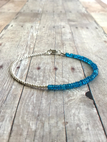 vibrant blue and silver beaded bracelet