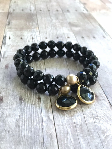 Black onyx bracelet set, 2 black beaded stretch bracelets