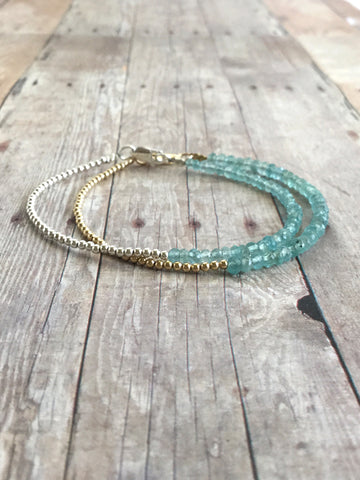 Blue Apatite Bracelet / Delicate Bracelet with Gold or Silver Beads / Custom Size Jewelry